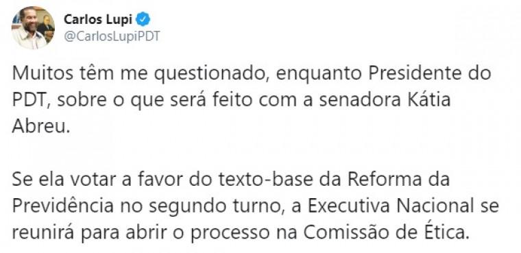 Postagem do presidente nacional do PDT, Carlos Lupi
