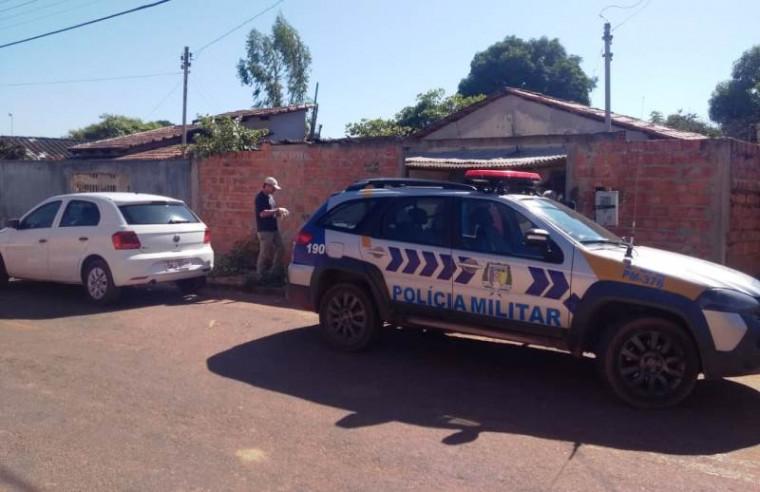 Polícia Militar no local onde o corpo foi encontrado