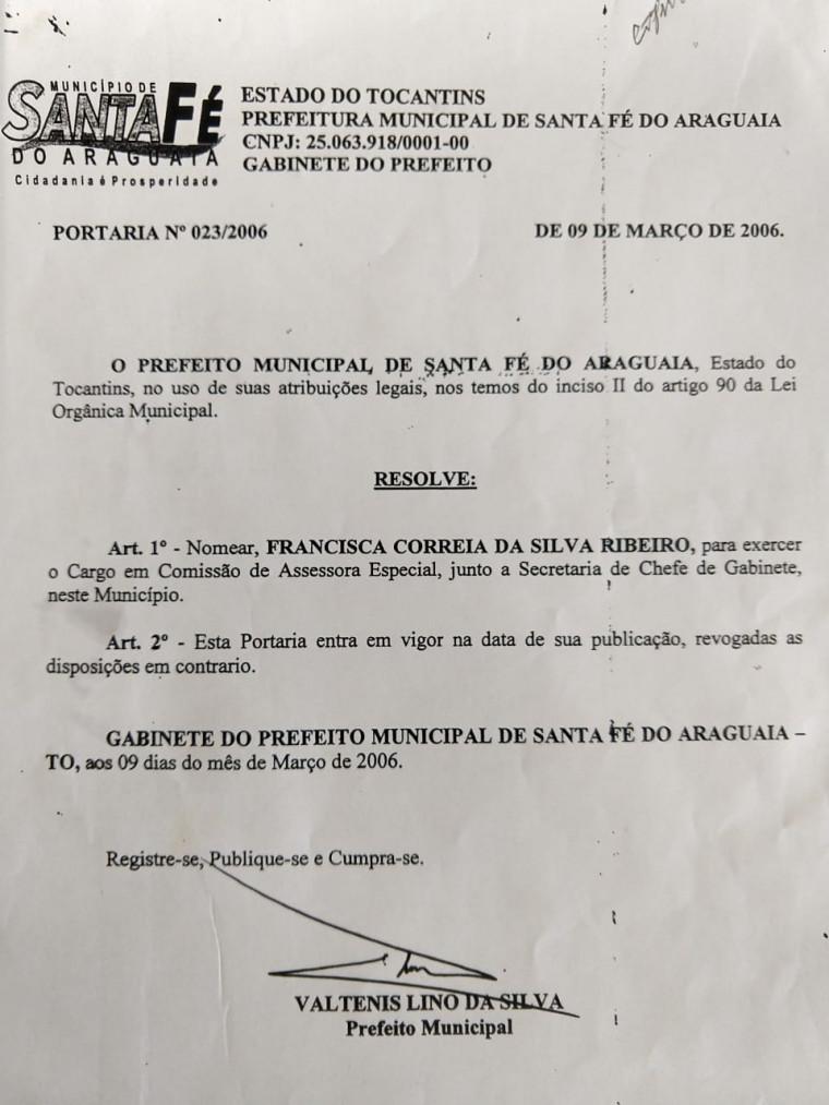 Ato de nomeação da ex-servidora no cargo de assessora especial