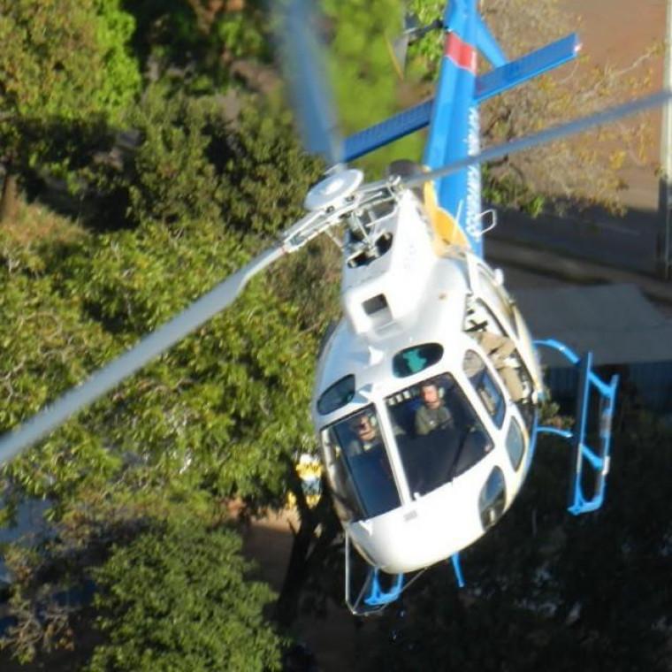 Helicóptero da segurança pública está no local