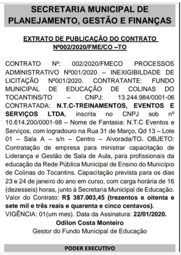 Extrato do contrato firmado com a prefeitura de Colinas