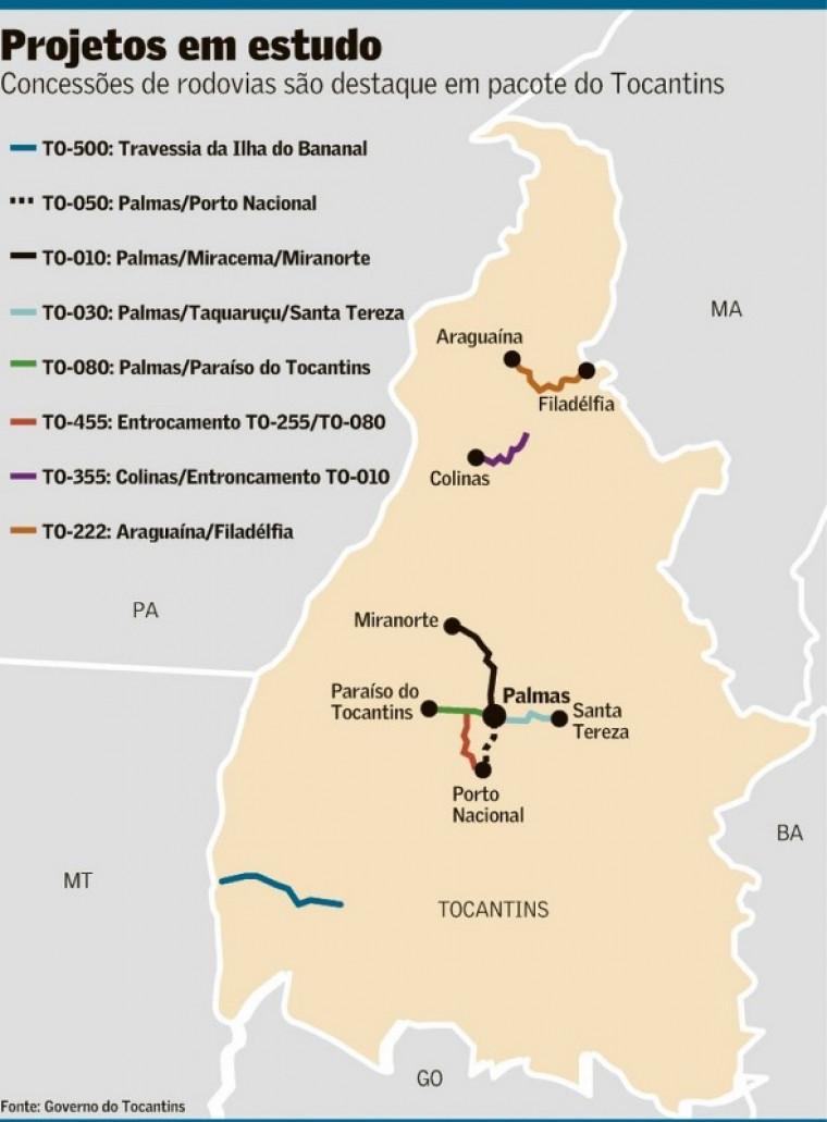 Mapa das rodovias que devem ser privatizadas