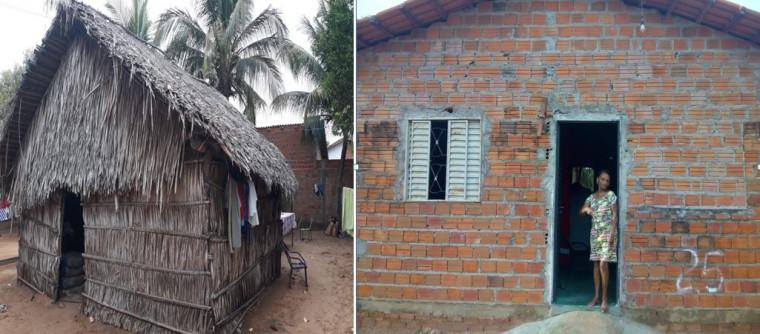 Antes e Depois da construção da casa da Dona Raimunda