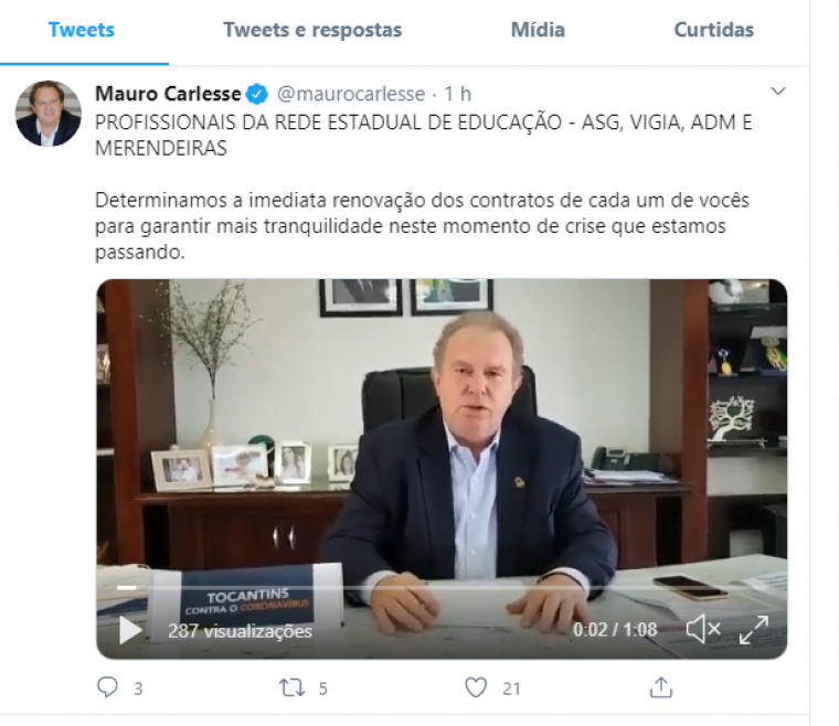 Publicação do governador