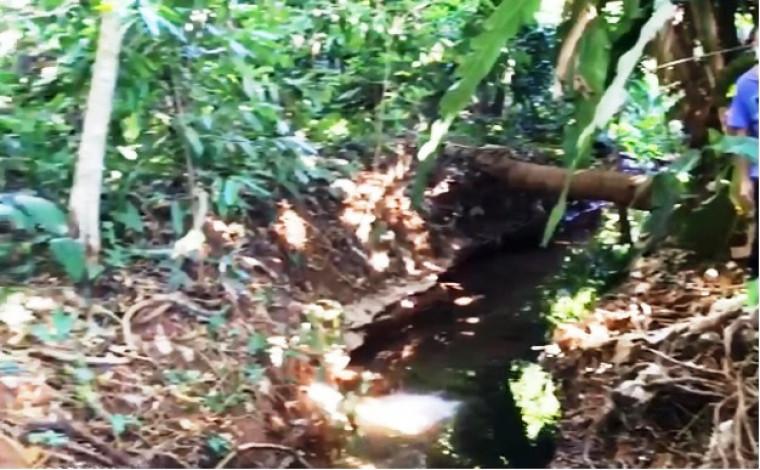 Córrego estava dentro de córrego próximo à ponte da barragem Corujão