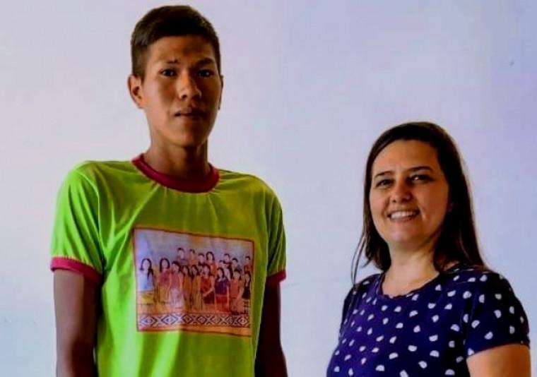 Rafael e sua professora