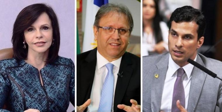 Dorinha, Marcelo Miranda e Irajá - da esquerda para direita