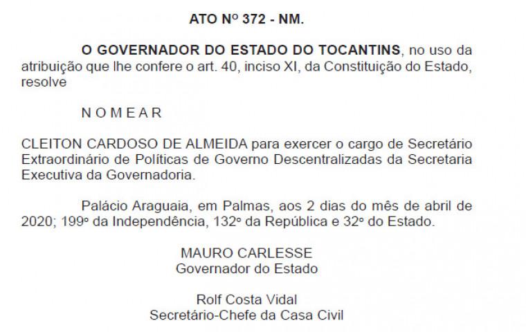 Nomeação do deputado Cleiton Cardoso como secretário