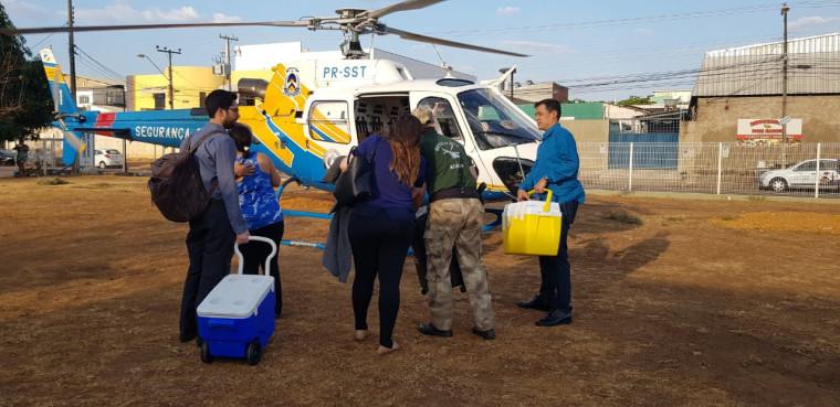 Helicóptero da SSP fez o transporte dos órgãos até o aeroporto