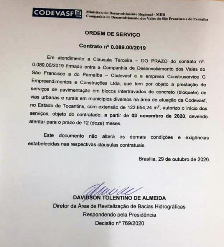 Ordem de serviço assinada para início das obras