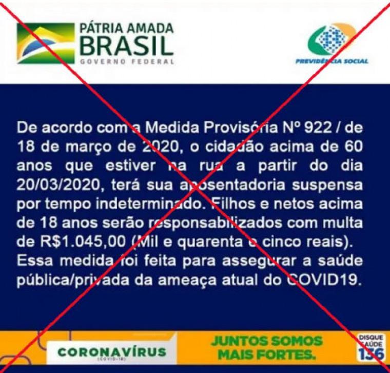 A falsa mensagem cita a MP 922/20 que dispõe sobre a contratação emergencial para o INSS