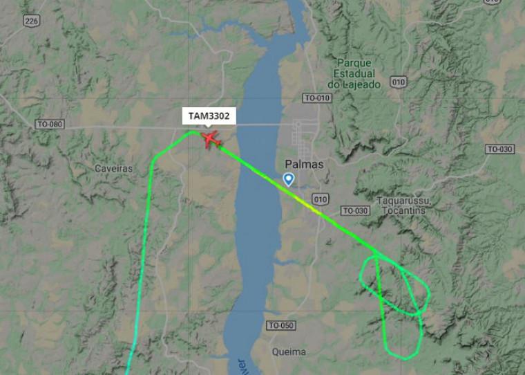 Após duas tentativas de pousar na capital, o voo foi desviado para Brasília e retornou a Palmas