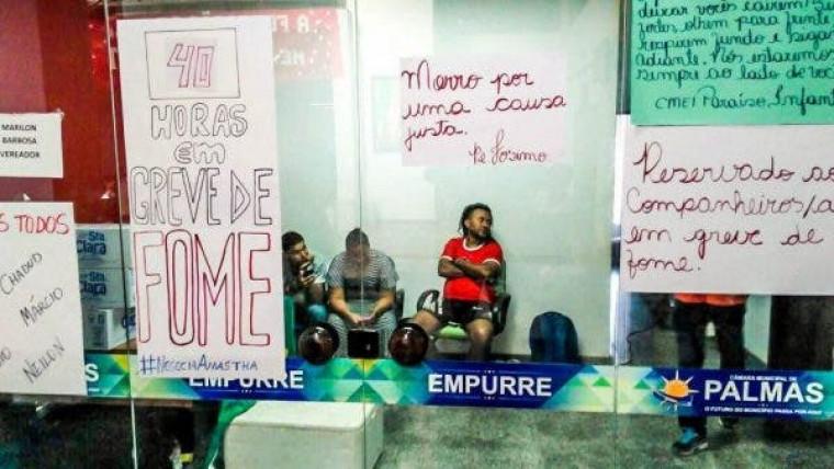 Professores fizeram greve de fome, mas não foram recebidos por Amastha em 2017