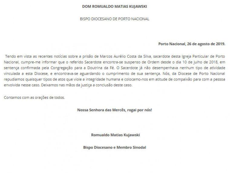 Nota da Diocese de Porto Nacional