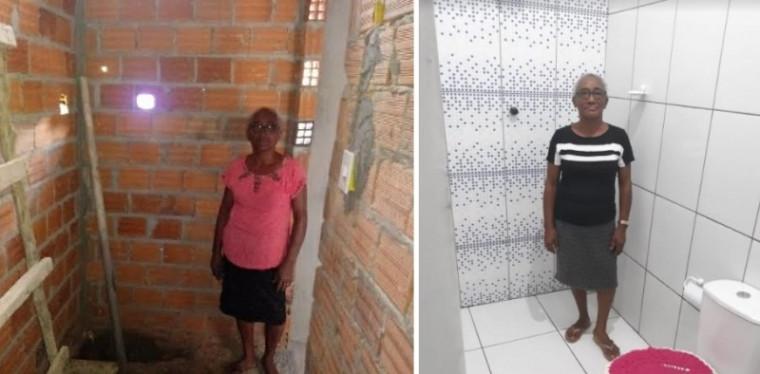Banheiro antes e depois da melhoria