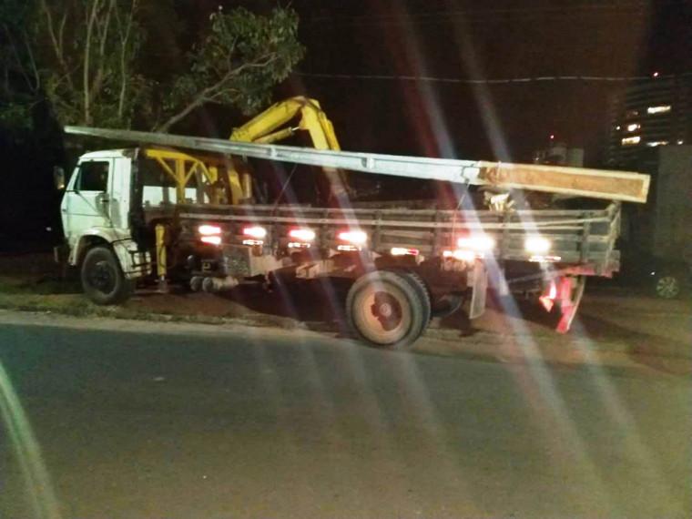 Caminhão munck estava sendo utilizado no crime