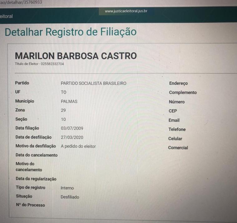 Marilon Barbosa está sem partido
