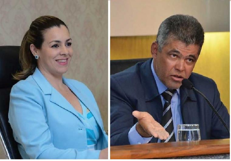 Prefeita Cinthia Ribeiro (PSDB) e vereador Milton Neris (PDT)