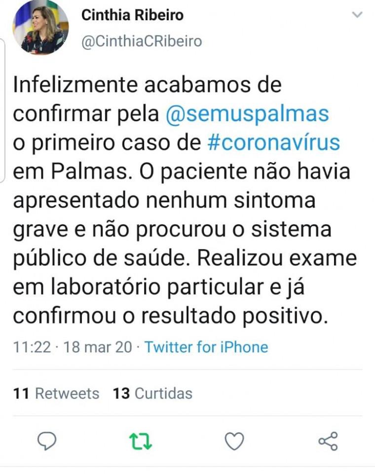 Caso de coronavírus confirmado em Palmas, segundo prefeita Cirnhia Ribeiro