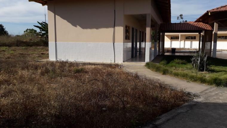 Escola com mato seco