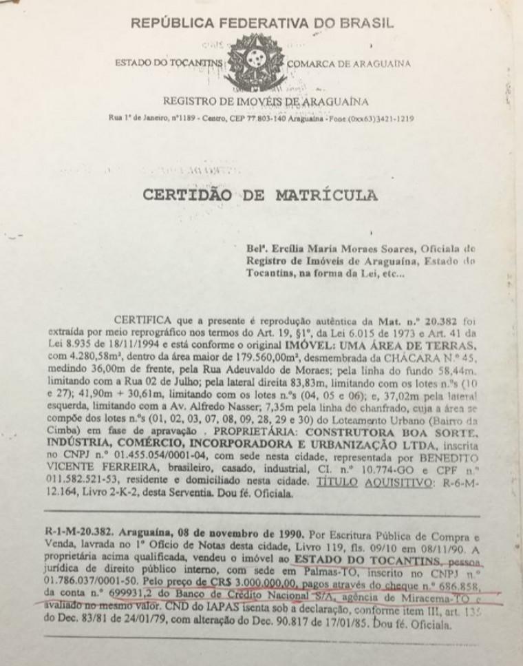 Certidão que está em poder da Associação de Moradores comprova venda da área ao Governo do Estado