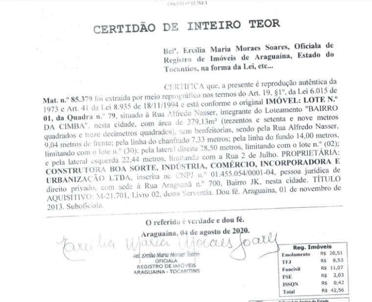 Certidão expedida pelo Cartório de Registro de Imóveis