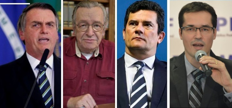 Da esquerda para direita: Bolsonaro, Olavo, Moro e Deltan