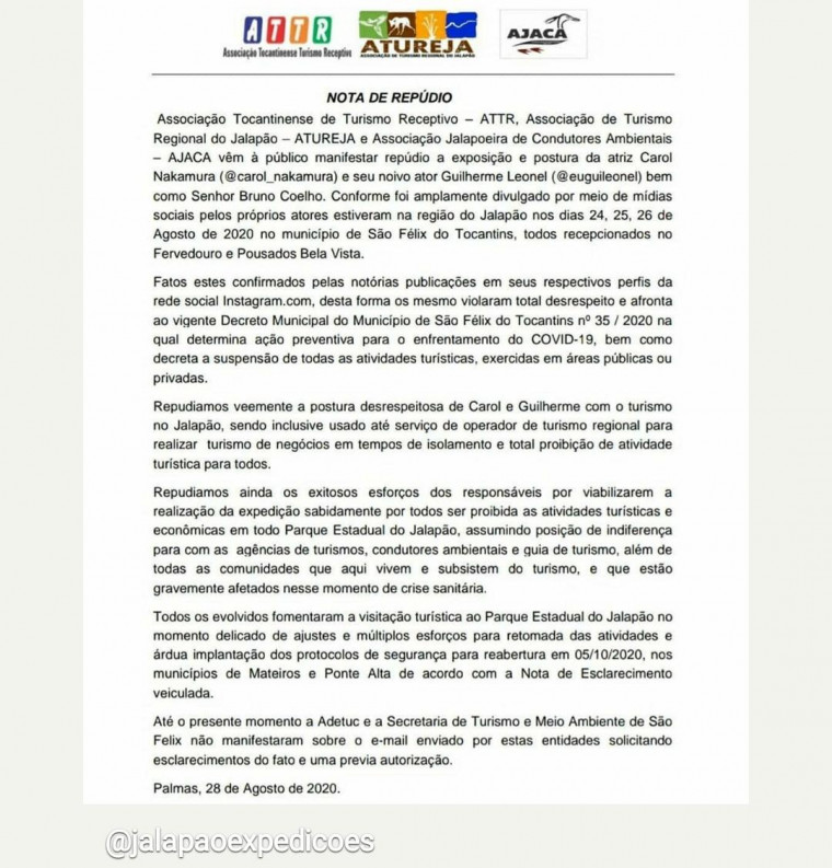 Nota de repúdio das entidades que representam o turismo tocantinense
