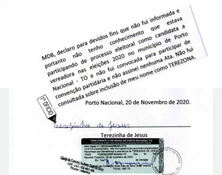 Declaração registrada em cartório pela suposta candidata