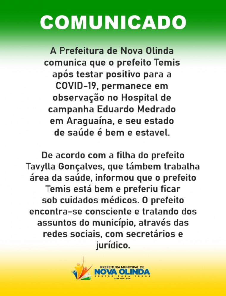 Nota oficial divulgada pela Prefeitura de Nova Olinda