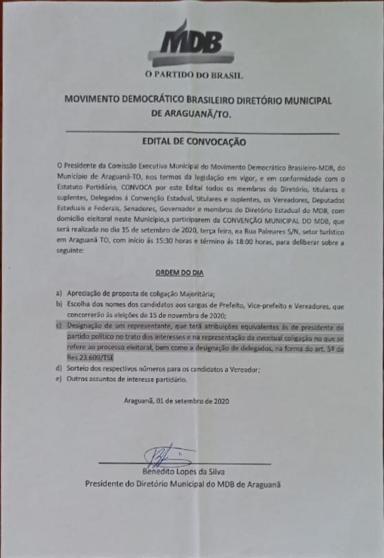 Edital da convenção do MDB de Araguanã