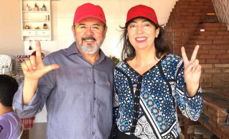 Leador Machado e Vera Caixeta, candidata a vice