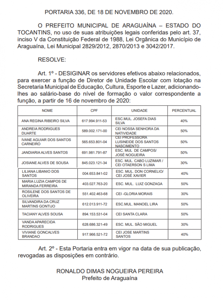 Portaria publicada no Diário Oficial do Município