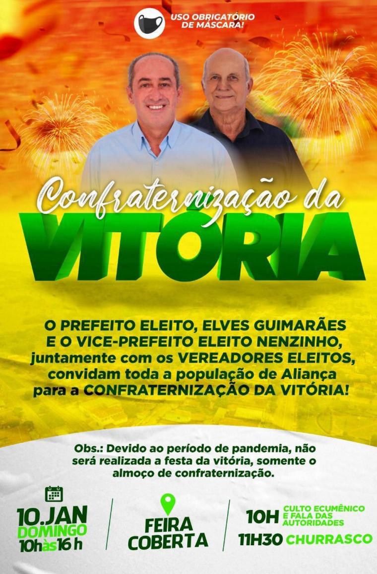 Convite da festa divulgado pelo próprio prefeito