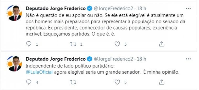 Postagem do deputado Jorge Frederico (MDB)