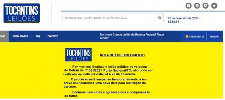 Comunicado da Tocantins Leilões