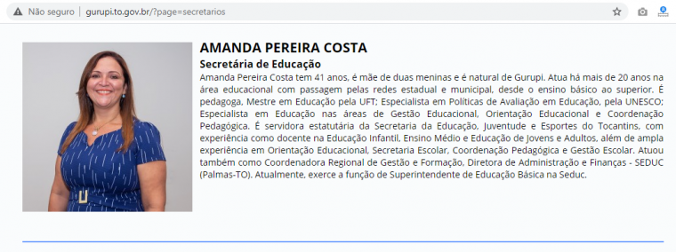 Amanda Pereira, secretária de Educação