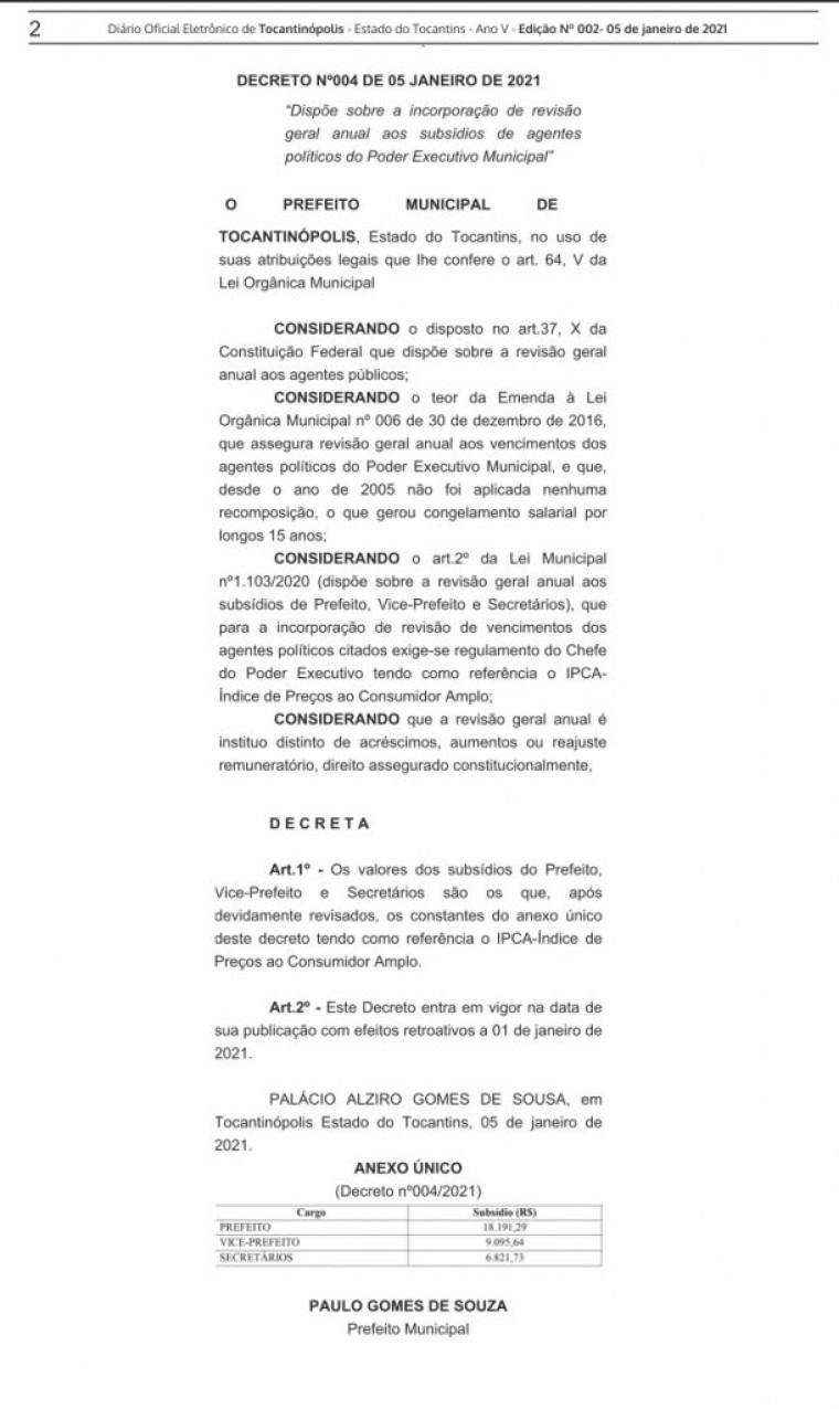 Decreto publicado no Diário Oficial do Município