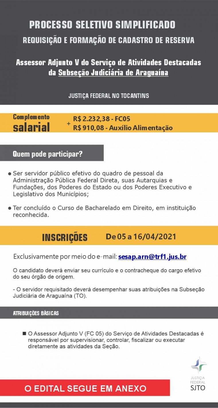 Processo seletivo da Justiça Federal em Araguaína