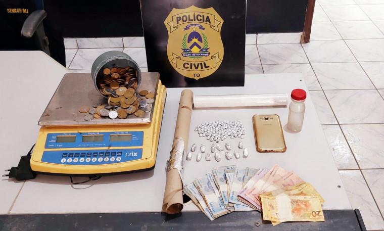 Drogas apreendidas em ponto de venda de drogas em Bandeirantes do Tocantins