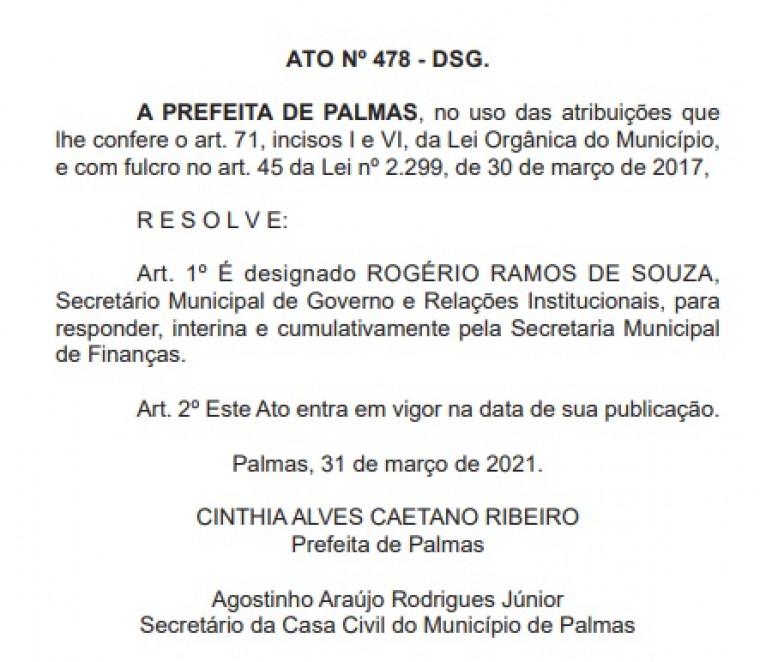 Rogério responsável pela Secretaria Municipal de Finanças