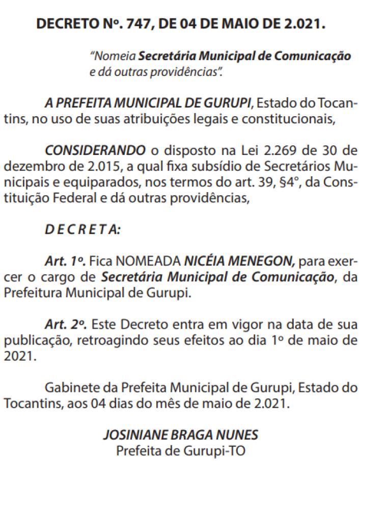 Nomeação de Nicéia Menegon