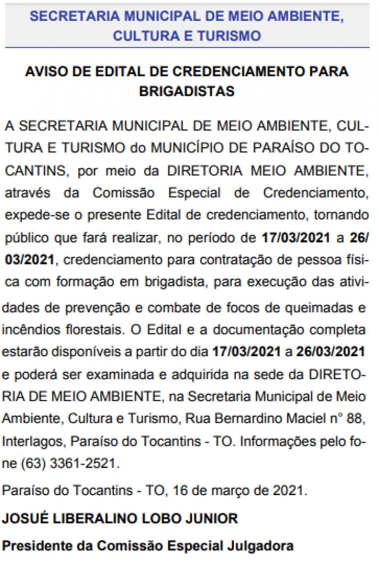 Edital publicado no Diário Oficial do Município