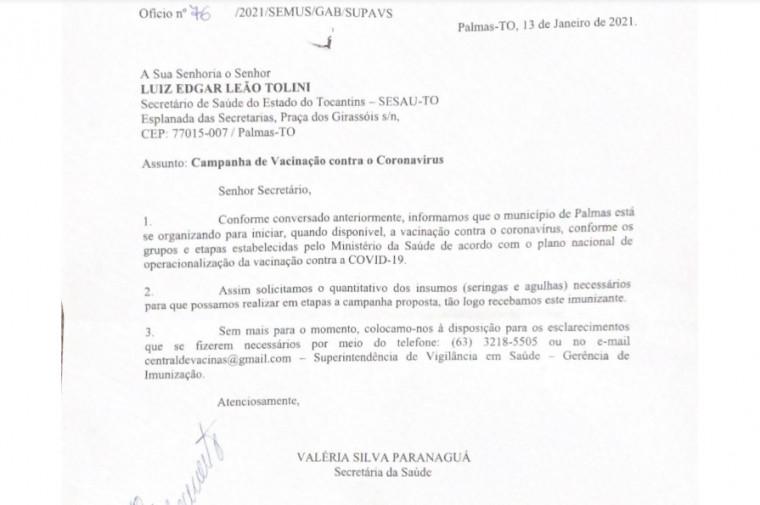 Ofício da Prefeitura de Palmas pedindo agulhas e seringas