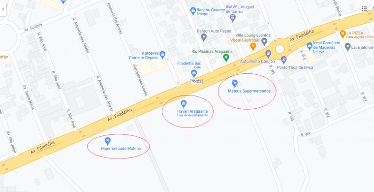 Lojas indicadas pelo Google Maps