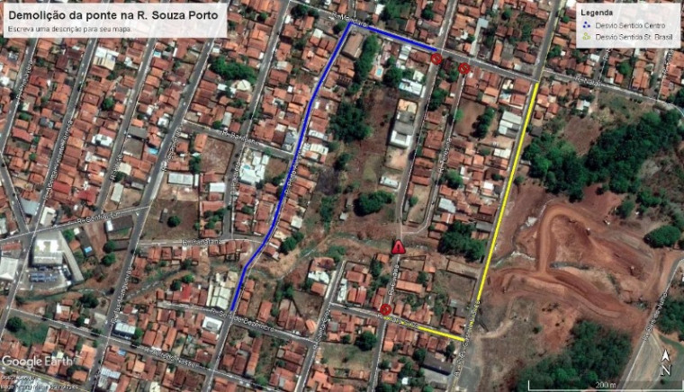 Já quem precisa trafegar pela Rua Souza Porto, que liga o Centro ao Setor Brasil, poderá seguir pela Rua Mandaraí ou pela Rua Clara Silva