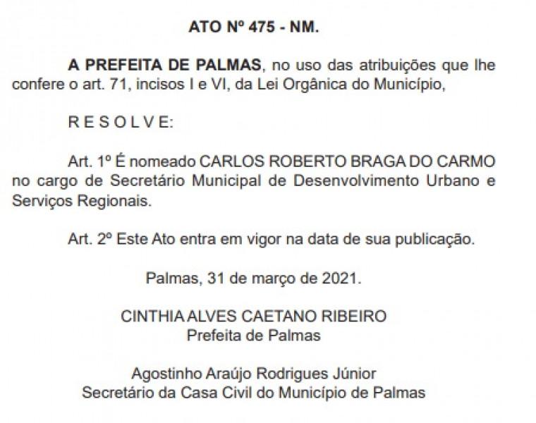 Carlos nomeado secretário de Desenvolvimento Urbano e Serviços Regionais