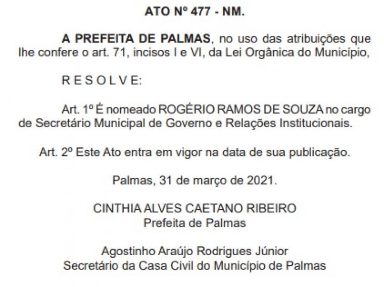 Rogério nomeado como secretário de Governo e Relações Institucionais