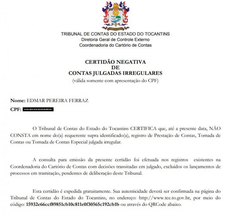 Certidão negativa do TCE