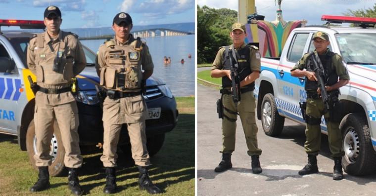 Policiais do Tocantins (direita) e Pará